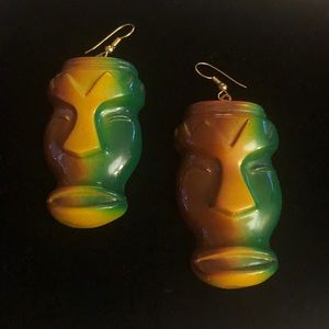 Tiki Head Earrings